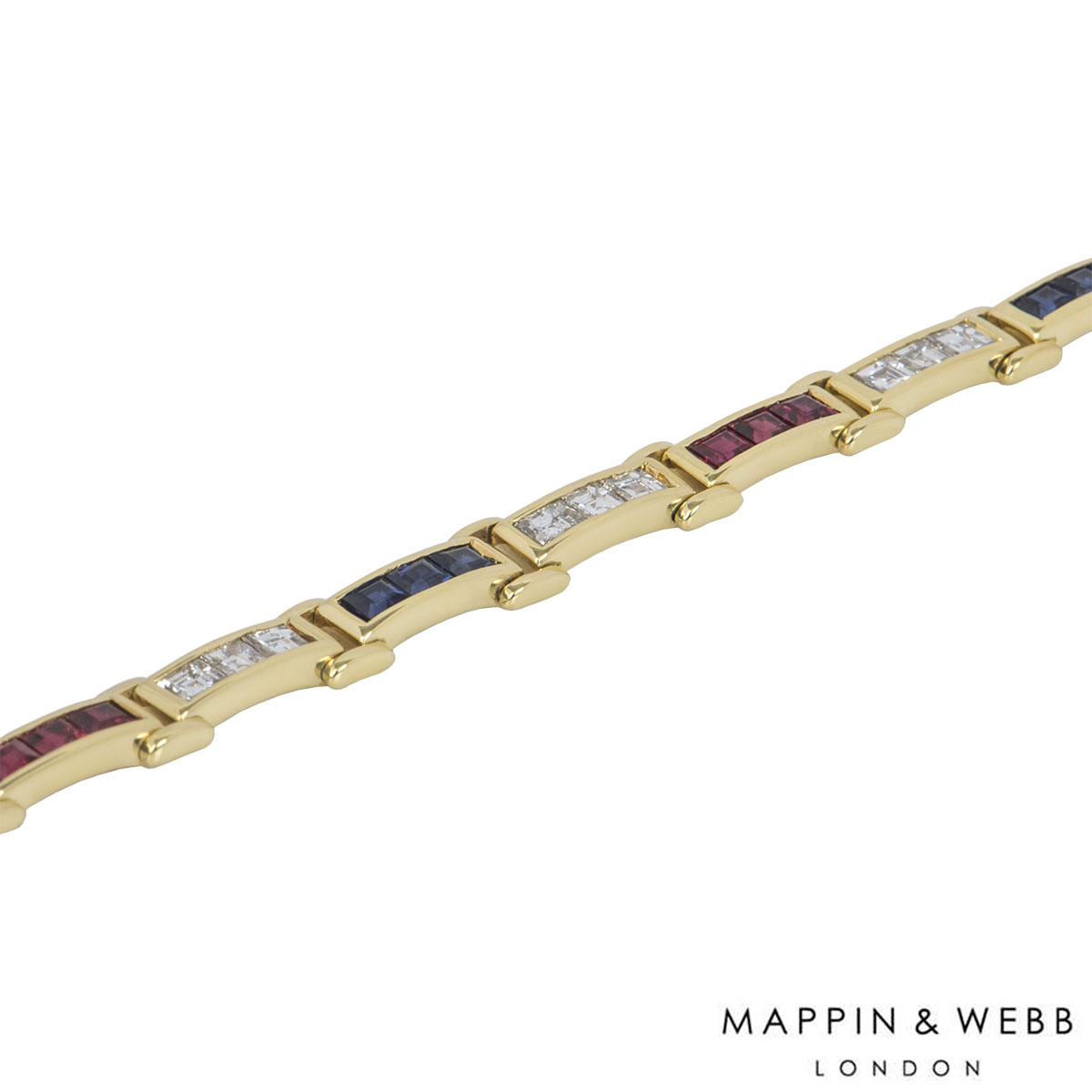 Mappin & Webb Yellow Gold Diamond And Multi-Gem Bracelet